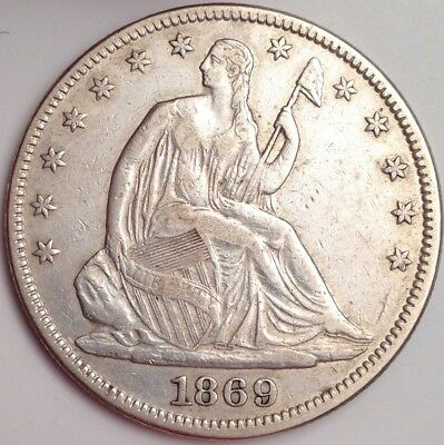 1869 Liberty Seated Silver Half Dollar ~ Survival Estimate Of Only 1,200 ~ RARE!