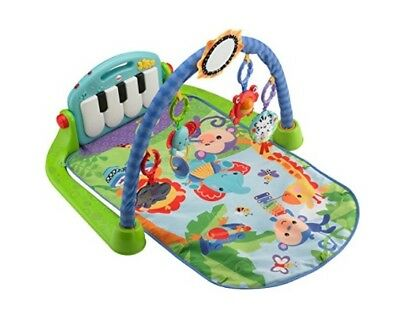 Fisher-Price Kick & Play Piano Gym, Blue/Green Mat, lay & play tummy time activi