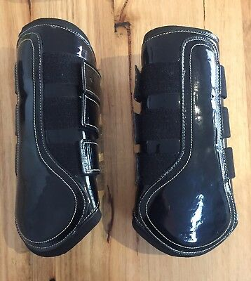 BRAND NEW Full Sized Black Patent & Neoprene Front Horse Boots rrp $95.90
