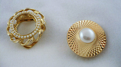 Lot 2 gold tone scarf rings with faux pearls 1 West Germany
