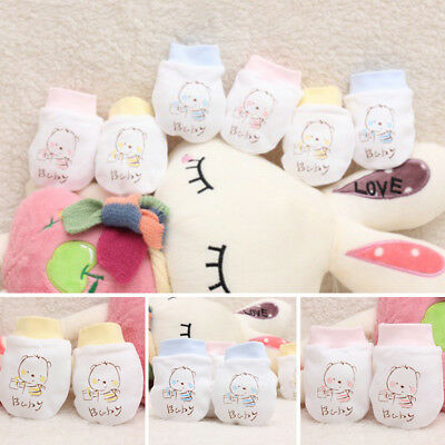 Cute Infant Baby Girl Boy Anti Scratch Mitts 100% Cotton Mittens Gloves Gift UK
