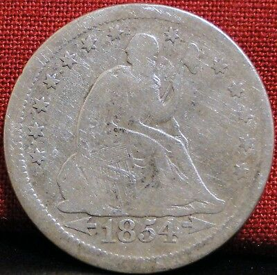 1854 Seated Liberty Quarter - w/Arrows