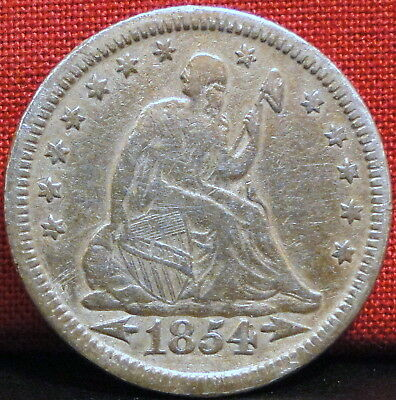 1854 Seated Liberty Quarter - w/Arrows (Some previous cleaning)