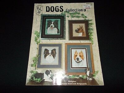 Cross Stitch Book~Dogs Collection 9~Mastiff~Border Collie~Pit Bull~Boxer~Papilli