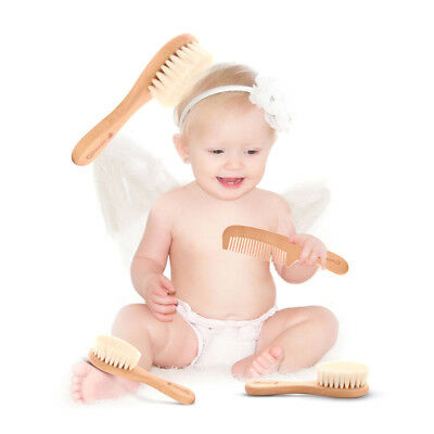 Infant Toddler Baby Solid Wood Natural Wooden Brush and Comb Set