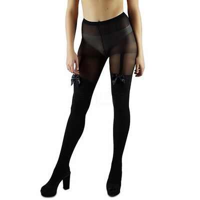 Tattoo Mock Bow Suspender Sheer Tights Hot Women A Sexy Cute Stockings Pantyhose