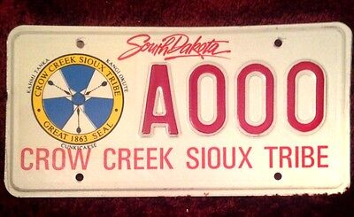 South Dakota Indian Crow Creek Sioux Tribe Tribal Vehicle License Plate Tag S.d