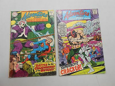 Adventure Comics lot of 2! #'s 366 and 372! VG4.0 range! Silver age DC beauties!