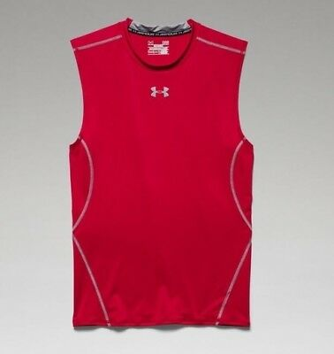 Under Armour 1257469 Men's Red UA HeatGear Sleeveless Compression Shirt - Small