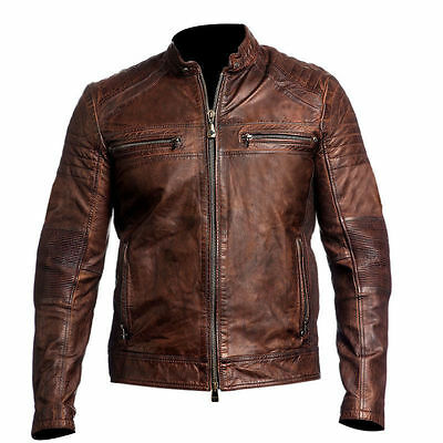 Mens Vintage Biker Moto Motorcycle Cafe Racer 1 Genuine Real Leather Jacket