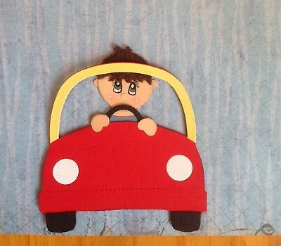 Handcrafted Little Boy With Ride On Car Paper Piecing - Acid Free - Scrapbooking