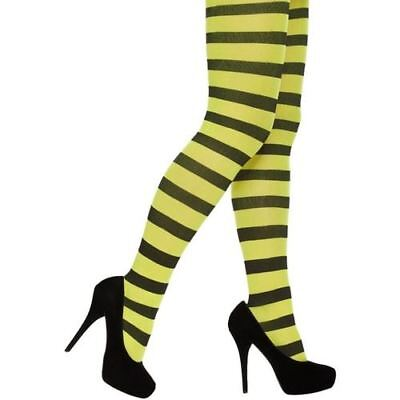 Ladies Black Neon Yellow Stripey Costume Tights Halloween Party Striped Tights