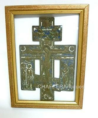 Genuine Antique RUSSIAN ORTHODOX  Bronze & Enamel CROSS Christ and the Mourners