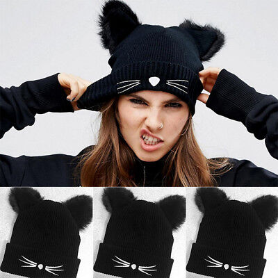 US Women Devil Horns Cat Ear Winter Beanie Crochet Braided Knit Ski Wool Hat Cap
