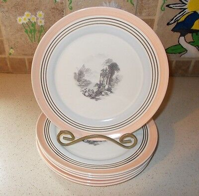 6 Rare American Limoges CandleLight Plates Black European Scene Center Pink Gold
