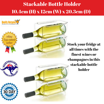 4 X Stackable Bottle Holder Wine Storage Rack Kitchen Fridge Organizer Shelves