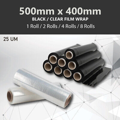 1/2/4/8 Rolls 500mmx400m 25UM BLACK CLEAR Stretch Film Pallet Wrap Carton Shrink