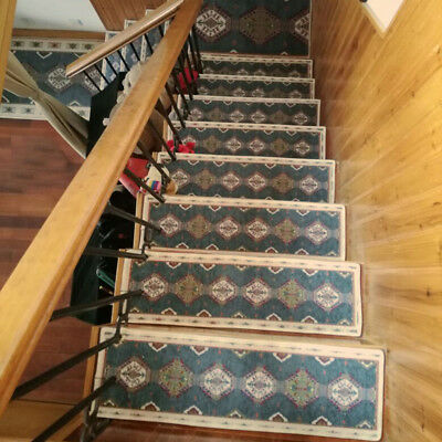 13pcs Stair Tread Mats Mediterranean Style Durable Carpet Non Slip Step Rug