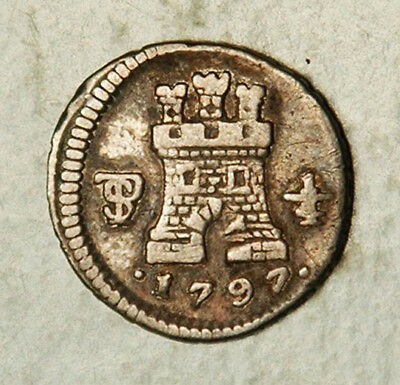 Bolivia Spanish Colonial Silver Quarto 1/4 Real 1797 (Scarce This Nice!)