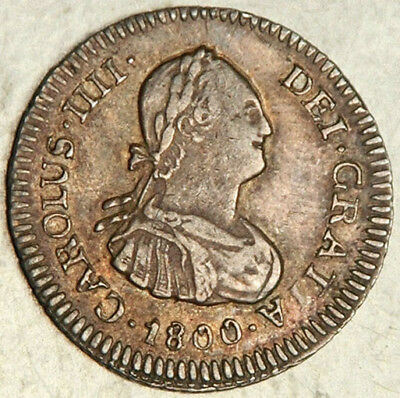 Bolivia Spanish Colonial Silver Medio 1/2 Real 1800 (Scarce This Nice!)