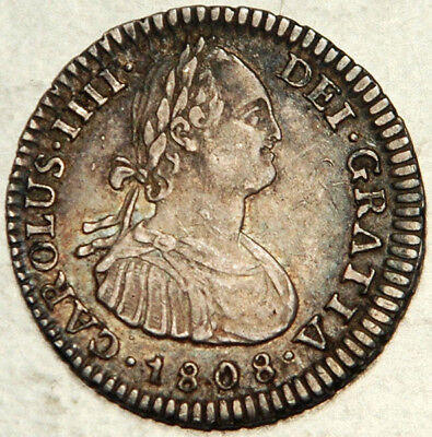Bolivia Spanish Colonial Silver 1 Real 1808 (Scarce This Nice!)