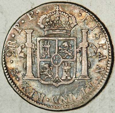 Bolivia Spanish Colonial Silver 2 Reales 1800 (Scarce This Nice!)