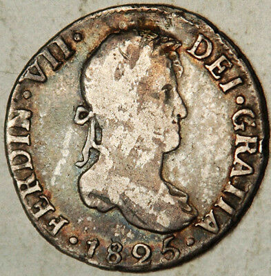 Bolivia Spanish Colonial Silver 2 Reales 1825 Pts-J (Rarest For The Type!)