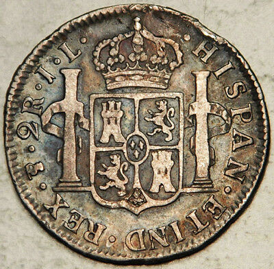 Bolivia Spanish Colonial Silver 2 Reales 1825 Pts-Jl (Very Scarce!)