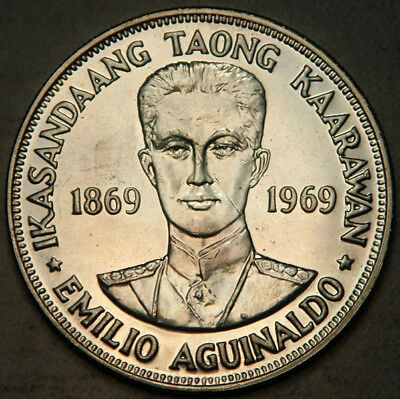 Philippines Silver 1 Piso 1969 (Lightly Toned Bu-Pl)