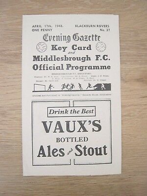 1947/48 Middlesbrough Blackburn Rovers