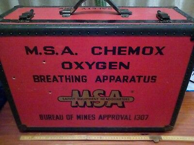 m.s.a chemox breathing apparatus suit case vintage