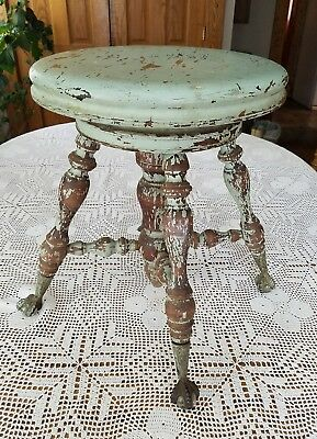 Antique Shabby Cottage Chippy Victorian Piano Stool Claw & Glass Ball Feet