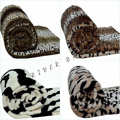 Animal Print Throws Faux Fur Warm Cozy Soft Blankets Sofa Bed Single Double King