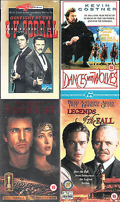 Braveheart, Dances with Wolves, Gunfight OK Corral, Legends of Fall - VHS Videos
