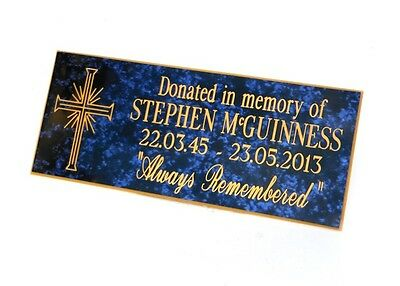 Personalised, Engraved, Blue Marble, Bench Memorial, Plaque, family