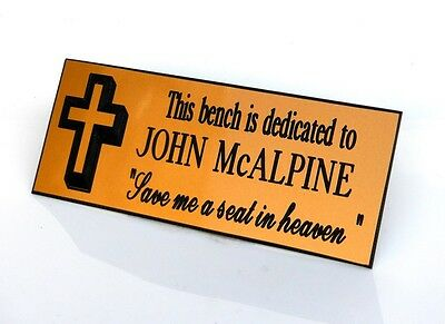 Personalised, Engraved, Gold, brass effect, Bench Memorial, Plaque, family