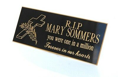 Engraved,Personalised Black gold text, Bench Memorial, Plaque, family