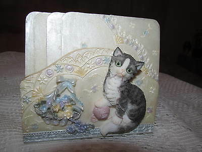 A Richesco Corp..*KITTY CAT DESIGN (4) COASTERS & HOLDER*..XLNT ! NEW