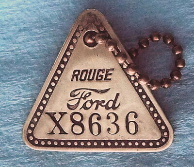 Vintage Tool Check Brass Tag: FORD ROUGE Dearborn Automobile Factory; w/Keychain