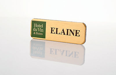 Staff Name Badges Brass effect Personalised ID Office Namebadge