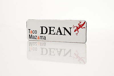 Staff Name Badges Brass white effect Personalised ID Office Namebadge