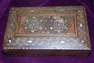 Vintage Wooden Cigar Cigarette Box with Inlaid Mosaic Mother of Pearl