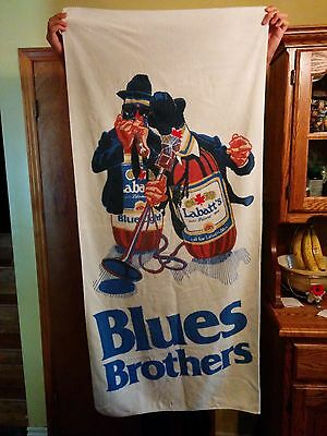 "Labatt Blue, Vintage, ""Blues Brothers"" Large Beach Towel, USED 1980's Breweriana"