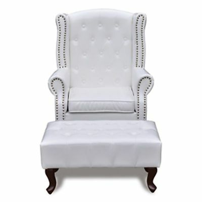 Antique Leather Armchair White Chesterfield Seater Vintage Living Room Furniture
