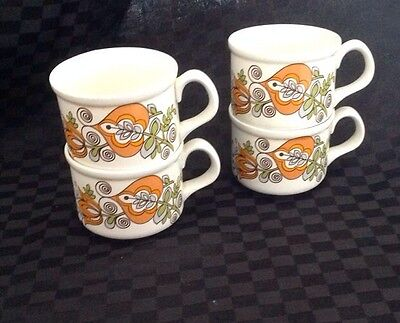 vintage retro cups, made in england, real retro flower pattern