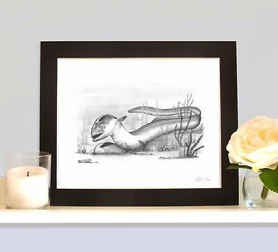 EEL Anguilla Fishing Art MOUNTED Print Picture Present For Angler Fisherman