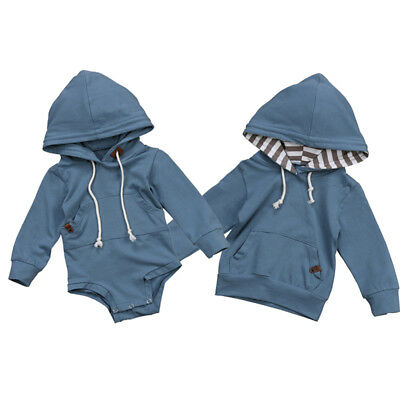 Kids Baby Boys Casual Hoody Jacket Sweatshirt Hooded Top Romper Jumpsuit Clothes