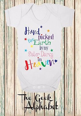 Hand Picked For Earth by My Sister in Heaven + Name Free Rainbow Baby Clothes
