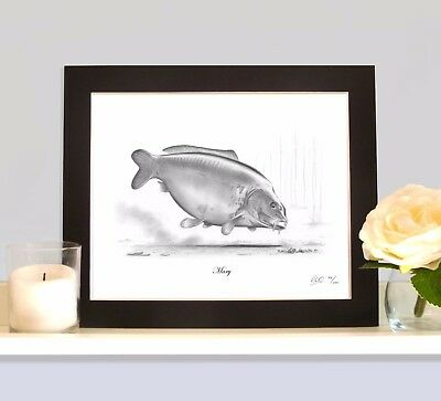 MARY Legendary Carp Art Print MOUNTED Picture Present For Fisherman Angler