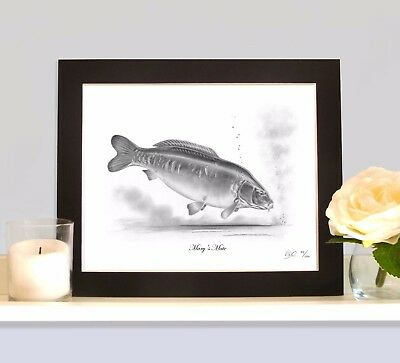 MARY'S MATE Famous Carp Art Print MOUNTED Picture Present For Fisherman Angler